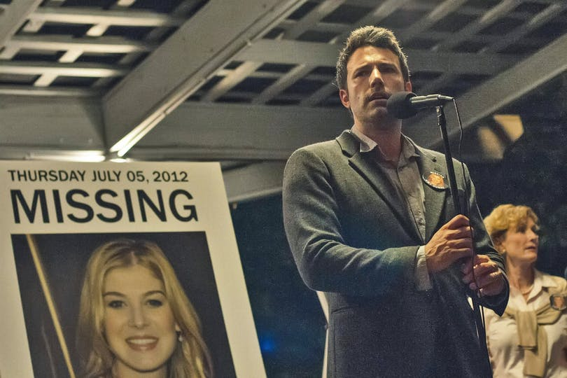 GONE GIRL -- FILM STILL -- DF-01826cc - Nick Dunne (Ben Affleck) finds himself the chief suspect behind the shocking disappearance of his wife Amy (Rosamund Pike), on their fifth anniversary.