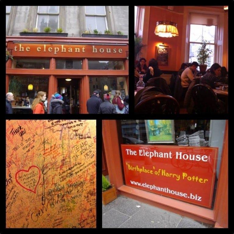 In- och utsidan av fiket the Elephant House, där J.K Rowling författade de två första Harry Potter-böckerna, samt den fullkomligt nerklottrade toaletten på samma fik.