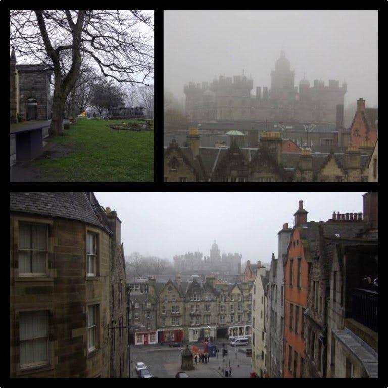 Kyrkogården, Greyfriars Kirkyard, där flera av gravstenarna fått ge namn åt karaktärer i böckerna, samt skolan, George Heriot's School, som blev Rowlings inspiration för Hogwarts. Allt något dolt bakom den berömda skotska dimman.