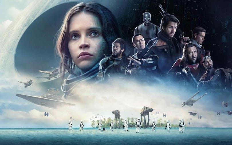 Sammanslagen bild på karaktärerna och miljöerna i Rogue One: A Star Wars Story