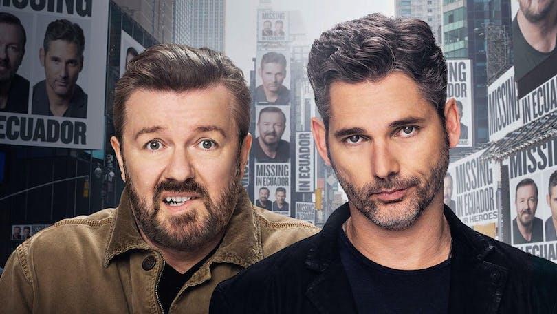 "Ricky Gervais och Eric Bana i ""Special Correspondents"""