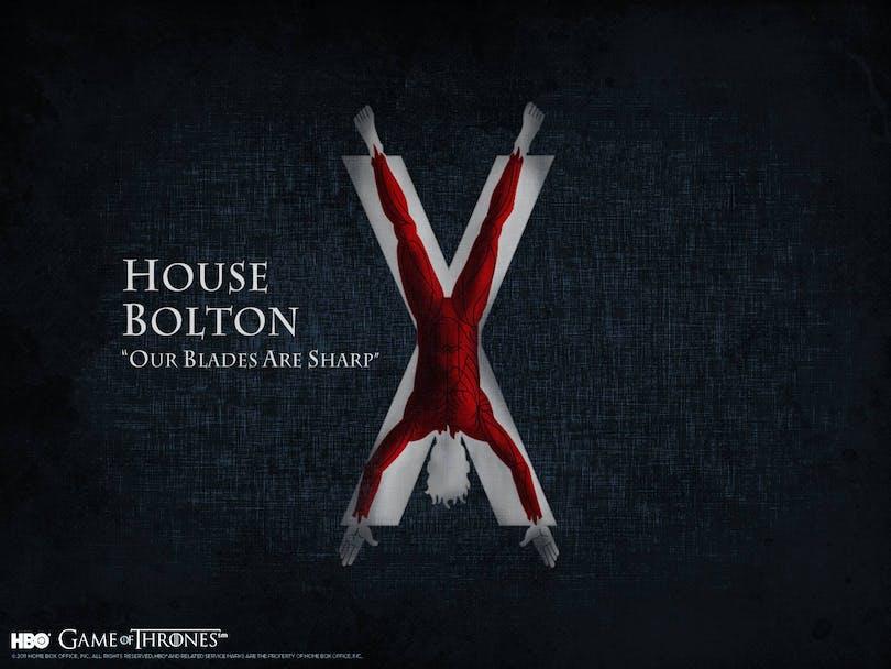 Bolton-släktens banderoll är så pass brutal att Joffrey hade börjat gråta av dess åsyn.