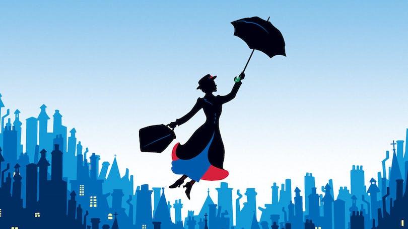 Tecknad bild på den flygande Mary Poppins.