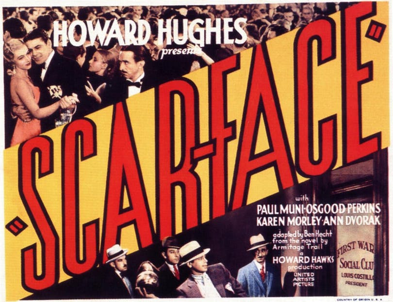 "Poster för Howard Hughes ""Scarface: Chicagos siste gangster"""