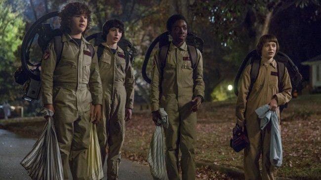 Grabbgänget är utklädda till Ghostbusters.