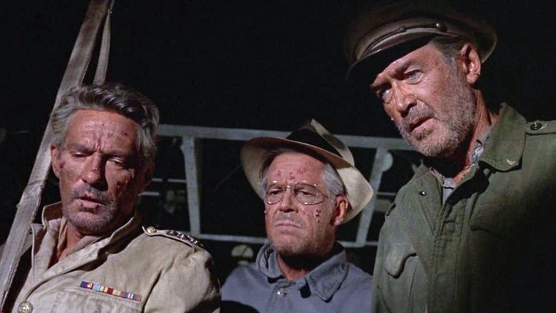 Peter Finch, Dan Duryea och James Stewart i The Flight of the Phoenix (1965)