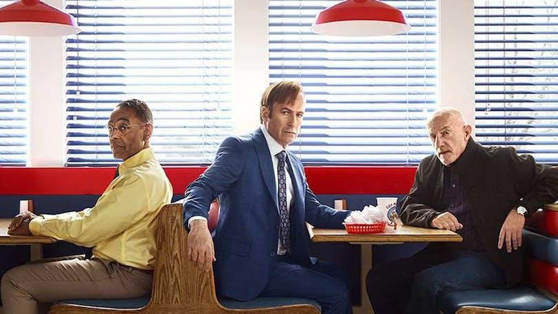 Giancarlo Esposito, Bob Odenkirk och Jonathan Banks i Diner i Better Call Saul