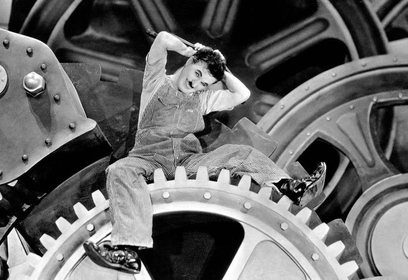 "Charlie Chaplin i ""Moderna Tider"""