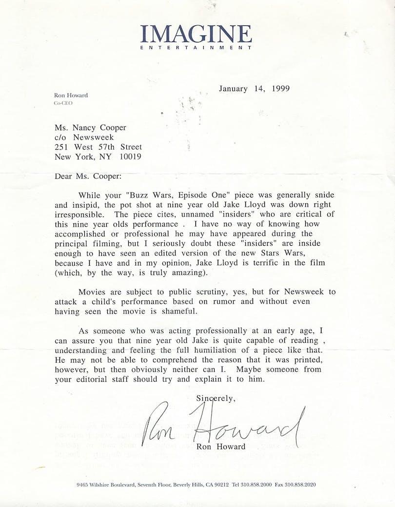 Ron Howards brev från 1999 till tidningen Newsweek.