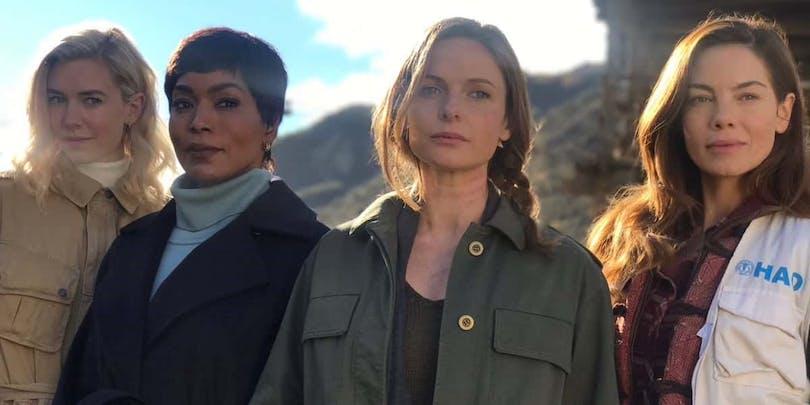 Bild på Vanessa Kirby, Angela Bassett, Rebecca Ferguson och Michelle Monaghan på inspelningen av Mission: Impossible 6