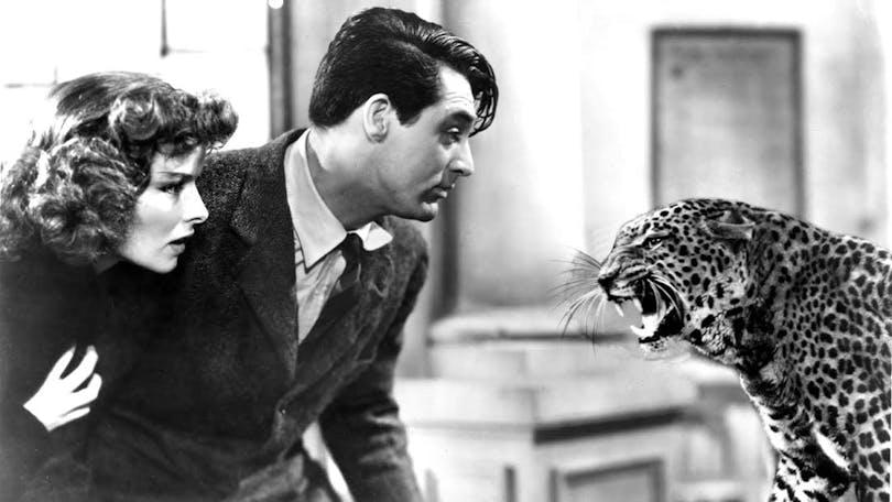 """Cary Grant och Katharine Hepburn möter en leopard i """"Ingen fara på taket"""""""