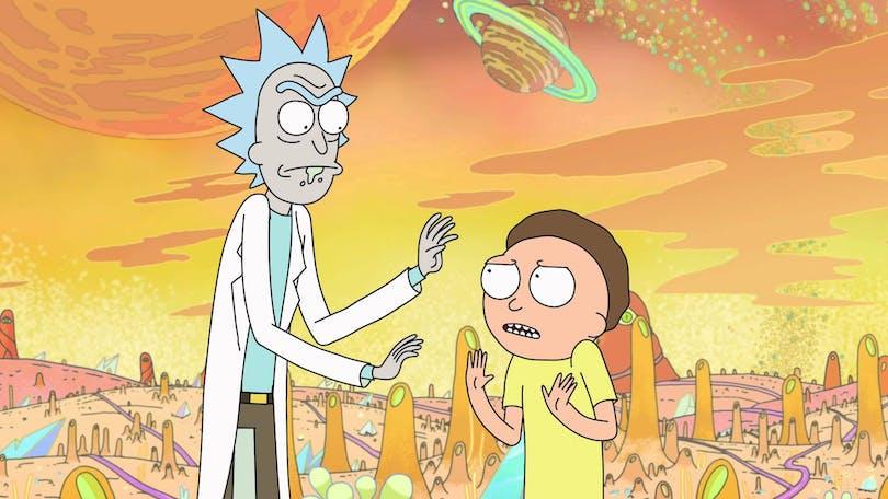 """Rick och Morty på en planet någonstans i galaxen från tv-serien """"Rick and Morty""""."""