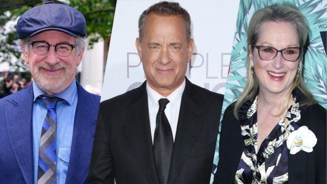 Steven Spielberg, Tom Hanks och Meryl Streep bredvid varandra