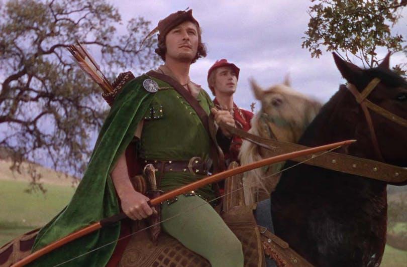 """Errol Flynn som Robin Hood i """"Robin Hoods äventyr"""""""