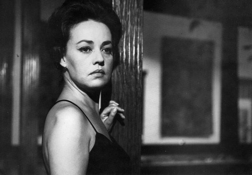 Bild på franska skådespelerskan Jeanne Moreau.