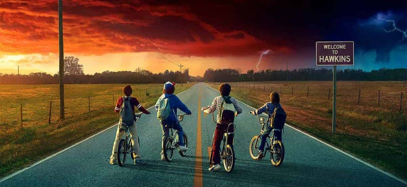 En beskuren del av en officiell poster till Stranger Things säsong 2