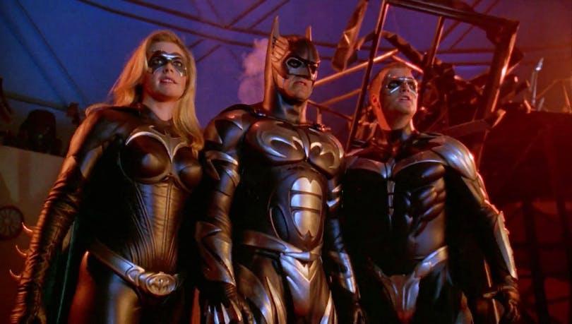 Bild på Alicia Silverstone, George Clooney och Chris O'Donnell i Batman & Robin.