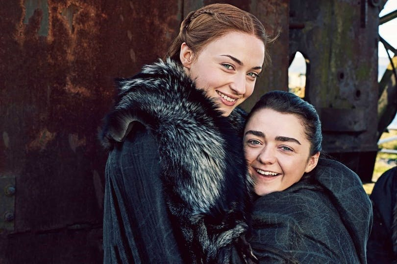 Sophie Turner och Maisie Williams i Game of Thrones