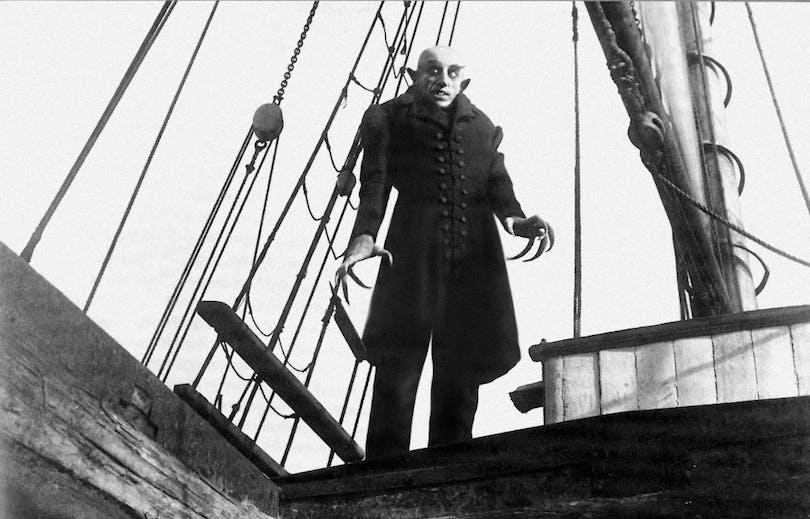 F.W Murnaus Nosferatu introducerade vampyren, etta världens mest ikoniska skräckmonster. På bilden är Max Schreck som Nosferatu.
