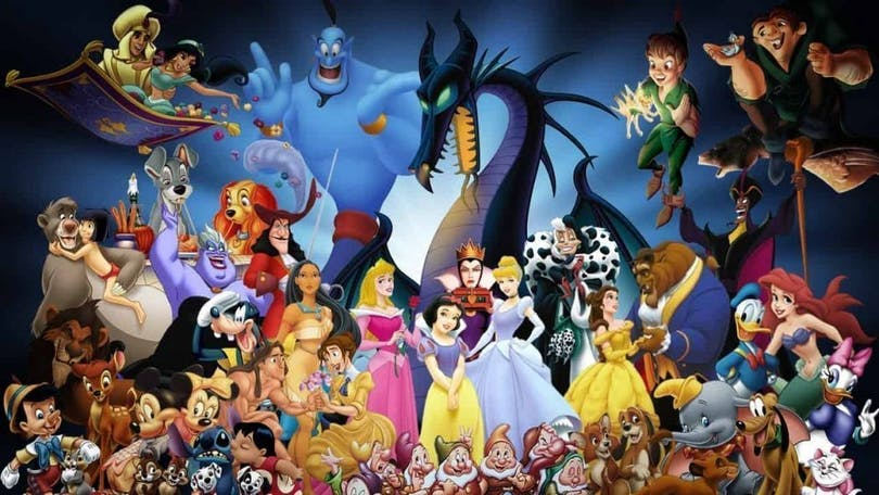 Här har vi en bild på alla Disney-karaktärer
