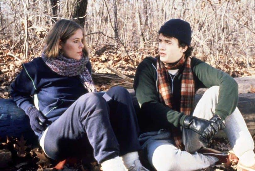 """Bild på Elizabeth Kemp och Tom Hanks i """"He Knows You're Alone"""" från 1980."""