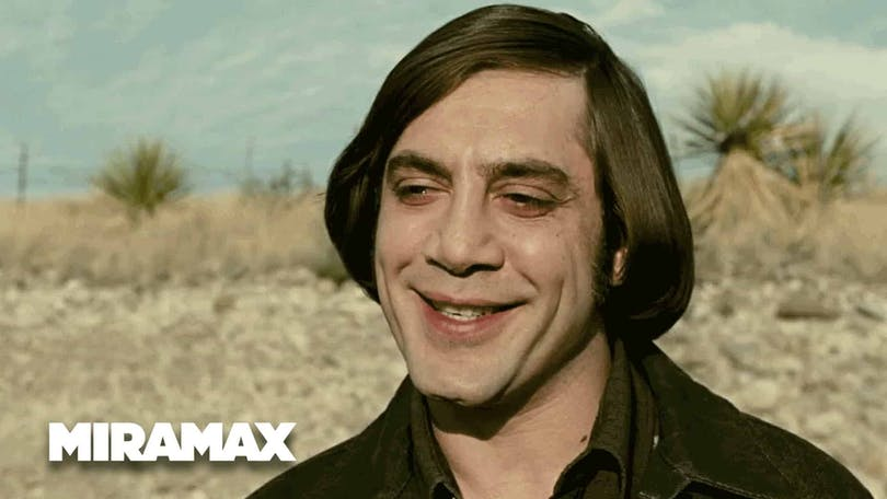 "Bild på Javier Bardem i filmen ""No Country for Old Men"""