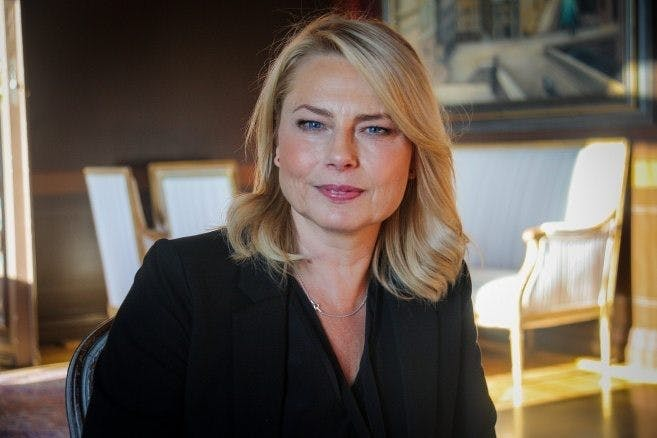 Helena Bergström innan intervju med Filmtopp