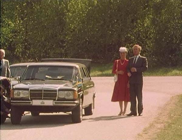 Från Kunglig Toilette. Kungen och drottningen står bredvid sin bil medan deras tjänstefolk byter ett punkterat däck.