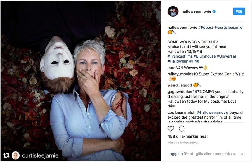 Jamie Lee Curtis bredvid Michael Myers