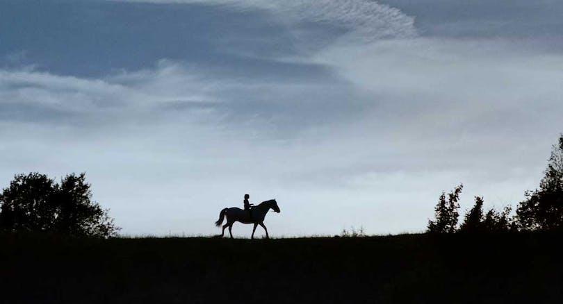En pojke rider på en häst.