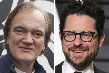 Här ser du en bild på regissörerna Quentin Tarantino och J. J. Abrams