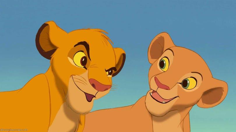 Simba och Nala från Lejonkungen.