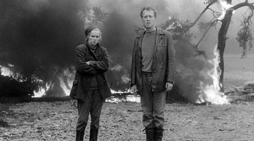 Liv Ullmann och Max von Sydow i Ingmar Bergmans Skammen.