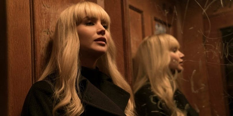 Jennifer Lawrence som Dominika Egorova i filmen Red Sparrow.
