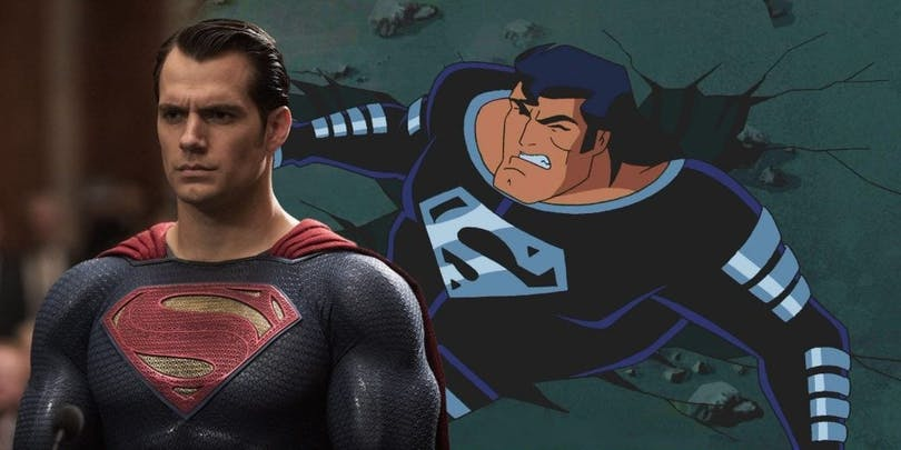 Superman och hans svarta dräkt som ryktades vara med i Justice Leauge.