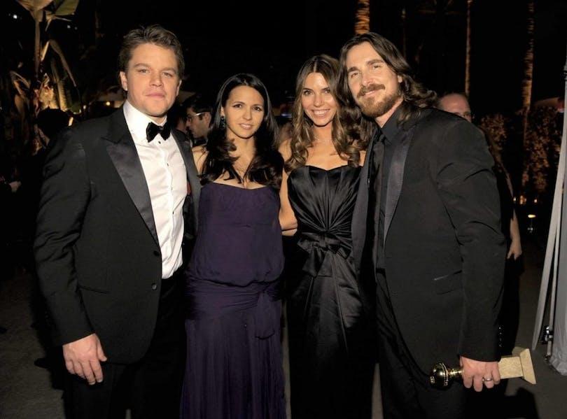 Matt Damon med frun Luciana Barroso, Sibi Blazic och Christian Bale.