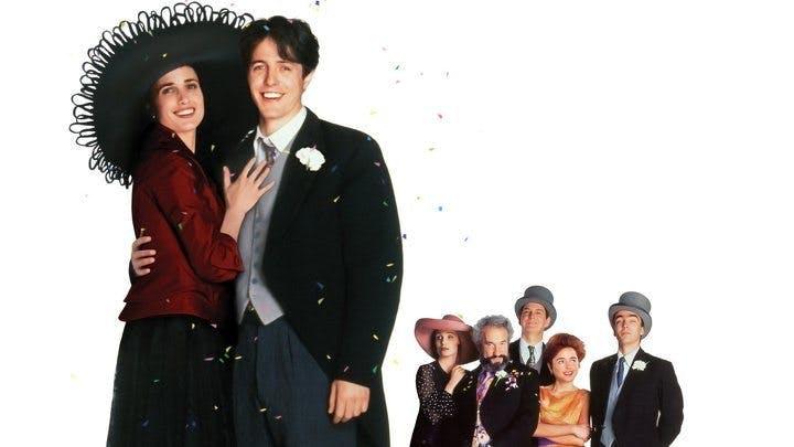 Andie MacDowell och Hugh Grant i Fyra bröllop och en begravning.