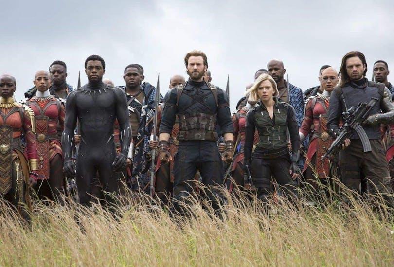 Chadwick Boseman, Chris Evans och Scarlett Johansson i Avengers: Infinity War.