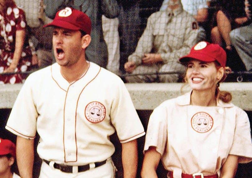 Tom Hanks och Geena Davis i Tjejligan.