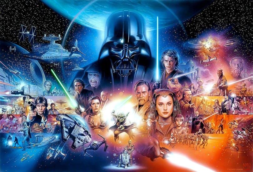 Ett collage över Star Wars-filmerna.