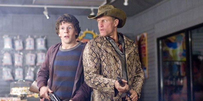 Jessie Eisenberg och Woody Harrelson i Zombieland.