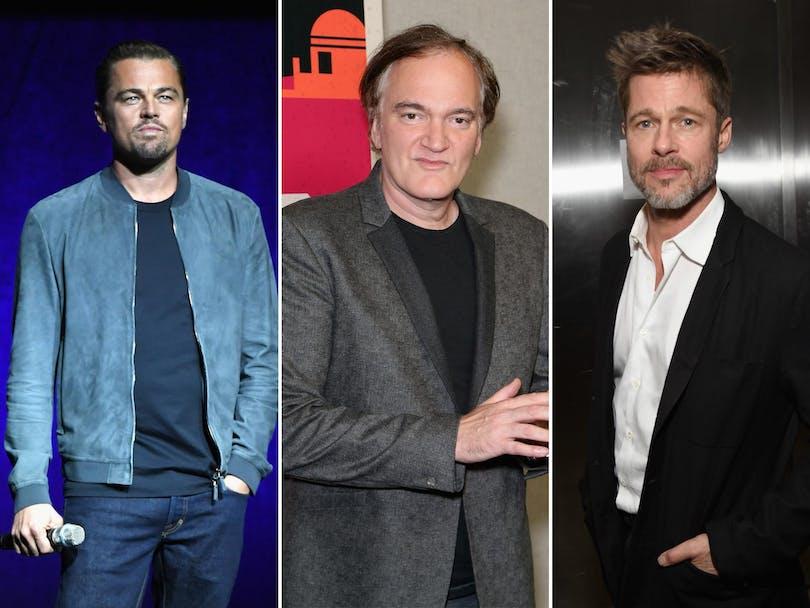 På bilden ser vi de två skådespelarna DiCaprio och Pitt tillsammans med regissören Tarantino