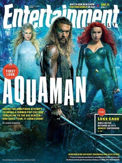 Ett omslag till Entertainment Weekly med Aquaman på bild.