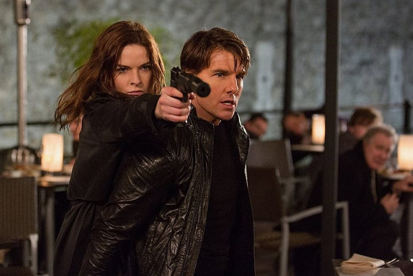 Rebecca Ferguson och Tom Cruise i Mission: Impossible Rogue Nation.