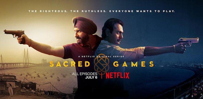 Affisch med de två huvudkaraktärerna, en polis och en gangster, i Sacred Games