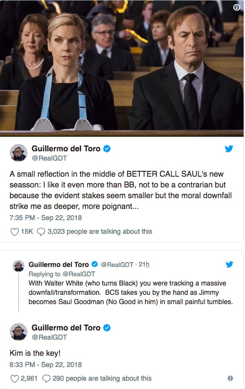 guillermo del toro tweet om better call saul