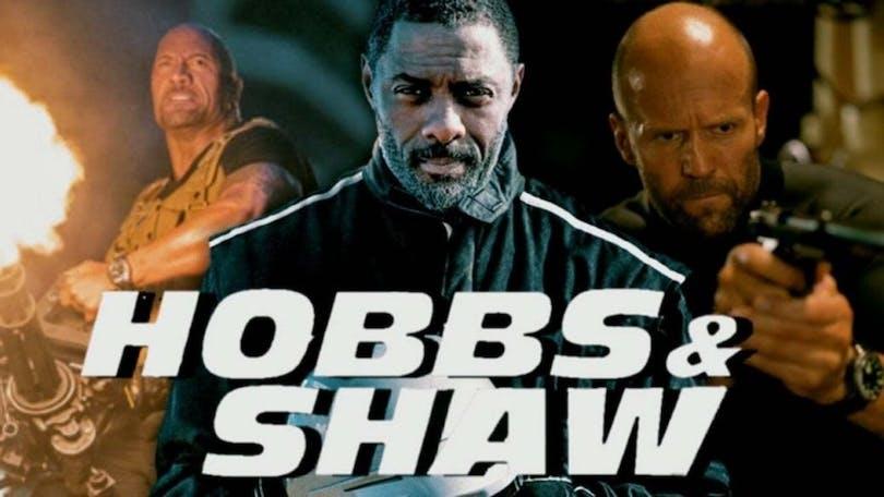 På bilden ser du Dwayne Johnson, Jason Statham och Idris Elba