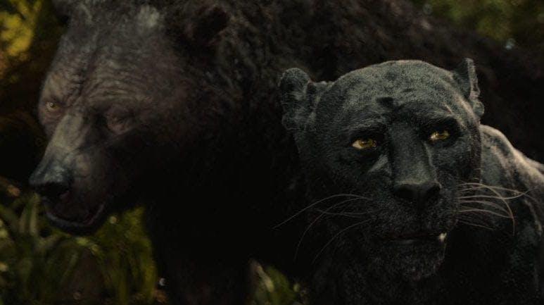 """Från Netflix Originalfilm, """"Mowgli"""". Baloo och Bagheera vandrar genom djungeln."""