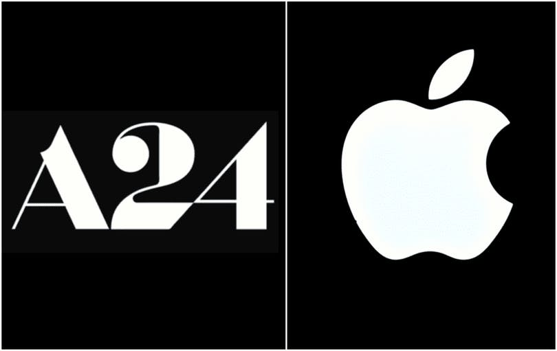 Logotyp för A24 och Apple.