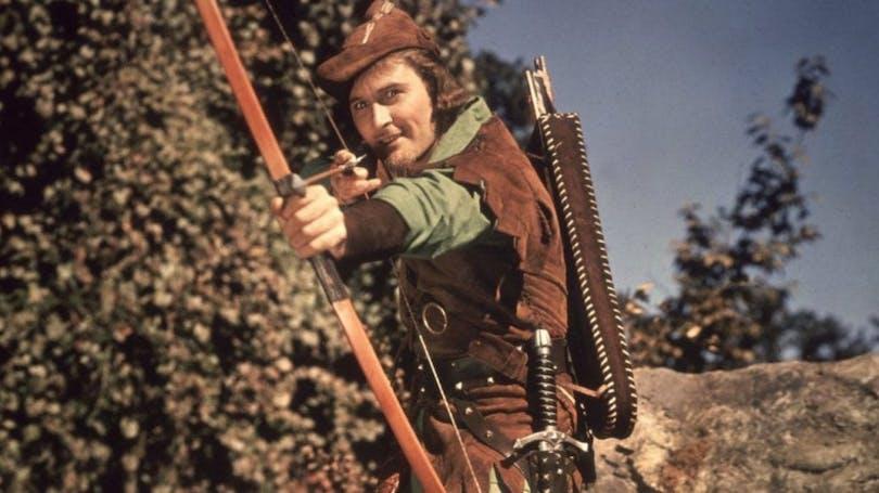 """Errol Flynn i """"Robin Hoods äventyr""""."""